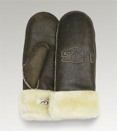UGG® Logo Patch Mittens | Shearling Cuff Mittens at UGGAustralia.com