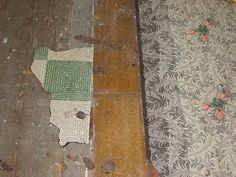 Early 20th century 1920s era linoleum flooring Linoleum Flooring, Floors, George Santayana, Timber Frame Homes, Cabbage Roses, Victorian Decor, History, Wallpaper, 1920s