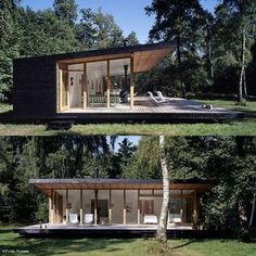 A Sweet Little Summer Cottage In Denmark by Christensen & Co. - if it's hip, it's here Modern Wooden House, Small Wooden House, Modern Cottage, Modern House Plans, Mini Cabins, Timber Structure, Ocean House, Unusual Homes, Wooden Cabins