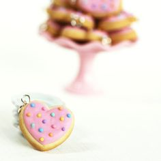 Heart Sugar Cookie Necklace Polymer Clay Food by SweetCherryShop, $11.00
