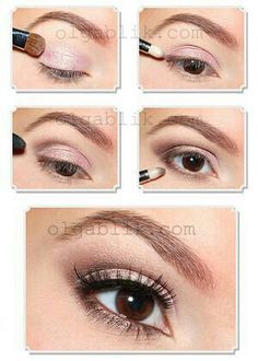 Simple natural makeup with pink and brown eyeshadow.tutorial/step by step
