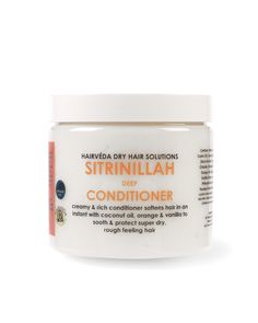 Strinilla Deep Conditioner by Hairveda | Is perfect for conditioning and softening your hair after a relaxer or protein treatment. Our ingredients are perfectly infused to bring the life back to your hair. Nourishing Orange oil penetrates deep down to treat lifeless and brittle hair.   Orange peel, used for centuries in Ayurveda hair and skin remedies is known for enhancing the hair's supple nature. SitriNillah contains no silicones.