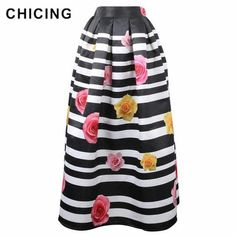 NEW OOPS Maxi Long Skirt Womens Striped Vintage Muslim Fashion 2016 Autumn Winter Pleated Floral Print Umbrella Skirt 141001 Muslim Fashion, Hijab Fashion, Umbrella Skirt, Bohemian Pattern, Satin Color, Islamic Clothing, Long Maxi Skirts, Stripe Skirt, Indie Brands