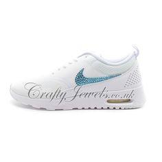 Swarovski Crystal Nike Air Max Thea in White. http://www.craftyjewels.co.uk/crystal-nike-air-max-thea-in-white-with-pink-crystals-7683-p.asp #nike #swarovski #nikeairmax #nikethea #thea #style #fashion #trainers #shoes #crystalshoes #crystaltrainers #girl #white #blue #swarovskicrystals