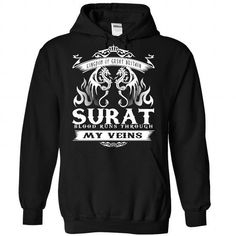 SURAT blood runs though my veins - #cute gift #husband gift. ORDER NOW => https://www.sunfrog.com/Names/Surat-Black-Hoodie.html?68278