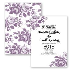 Toile Roses Wedding Invitation in Wisteria Purple by #davidsbridal #invitations #purplewedding