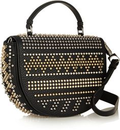 Christian Louboutin Panettone Spiked Texturedleather Shoulder Bag in Black - Lyst