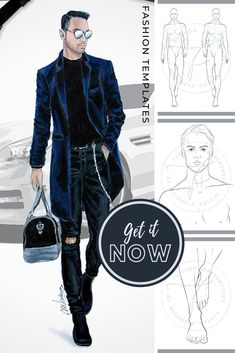 If you want an athletic male croqui for your portfolio, then this figure template is what you need. The male catwalk model is walking down the runway in a Fashion Figure Templates, Fashion Design Template, Fashion Design Sketches, Fashion Figure Drawing, Fashion Model Drawing, Male Fashion, Fashion Models, Croquis Fashion, Male Models Poses