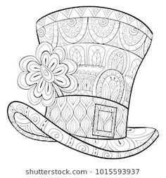 Adult Coloring Pagebook A Saint Patrick Hat With Clover For RelaxingZen Art