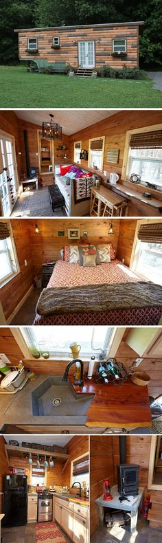 The Nomad's Nest is a gooseneck tiny house created by Wind River Tiny Homes. This house was featured in the second season of Tiny House Nation on FYI. The high ceilings and no-loft design was built for the 6'6″ owner in mind.