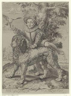 Raffaello Guidi | Portret van Frederik de Vries, Raffaello Guidi, Petrus Scriverius, Cesar Capranica, 1599 | Portret van Frederik de Vries met de hond van Hendrick Goltzius. Hij was een zoon van de schilder Dirck de Vries, die een leerling was van Hendrick Goltzius. Frederik maakt aanstalten om op de rug van de hond te gaan zitten en houdt een duif in de hand. Op de cartouche een opdracht in het Latijn. Het onderschrift in het Latijn spreekt over de eenvoud van het kind en de trouw van de…