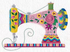 Pretty with Patterns Sewing Machine design (M11304) from www.Emblibrary.com