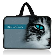 "Cat Face 15"" 15.4"" 15.5"" 15.6"" Laptop Neoprene Soft Sleeve Bag Case Cover+ Hide Handle For Acer Dell HP Sony ASUS #Affiliate"