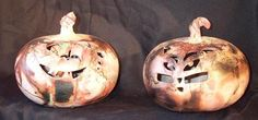 Great for halloween. They have a bunch of different faces, silly and scary. Stoneware pottery art