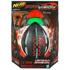 Nerf Firevision Sports - Football (Age: 6 years and up) by Nerf. $32.95. Fire up the field with the NERF Sports Firevision Football. This football features incredible Microprism Technology, which creates a glowing streak of light, day or night. When you activate your Firevision ball with a pair of cool Firevision Frames, you reveal a glow with a range of up to 100'. The Firevision football is performance engineered to generate spiraling streaks of light whenever you turn on you...