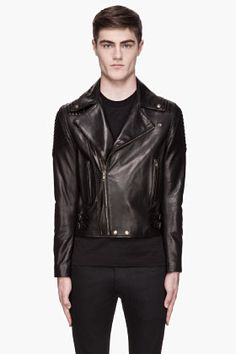 GIVENCHY Black buffed leather trapunto quilted biker jacket