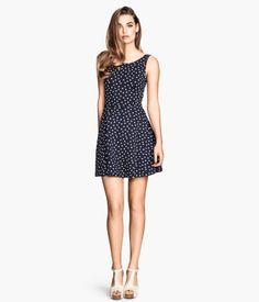 H&M Tricot jurk - Donkerblauw/stippen