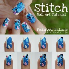 52 Ideas for nails acrilico juveniles largas, Nail Art Disney, Disney Acrylic Nails, Disney Nail Designs, Cute Acrylic Nails, Cute Nail Art, Cute Nail Designs, Cute Nails, Cute Stitch, Disney Stitch