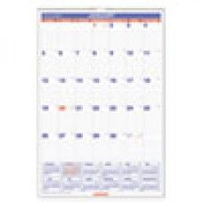 Desk Supplies>Desk Set / Conference Room Set>Holders> Calendar Holders: Monthly Wall Calendar with Ruled Daily Blocks, 20 x 30, White, 2016