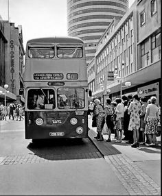 Birmingham High Street in the early 1970s, with the Rotunda in the background