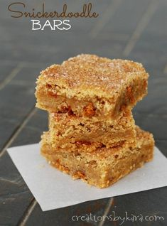 Snickerdoodle Bars -  I get recipe requests every time I serve these delicious cinnamon sugar bars! #blondies #recipe #cinnamon