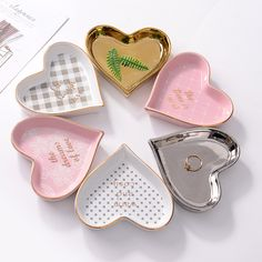 Cheap Dishes & Plates, Buy Directly from China Suppliers:Small Heart Shape Ceramic Jewelry Dish Porcelain Plate Handpainted Storage Dish Decorative Tray Table Sauce Saucer Decoration Diy Clay, Clay Crafts, Cerámica Ideas, Birthday Gifts For Best Friend, Jewelry Dish, Small Heart, Ceramic Jewelry, Clay Art, Heart Shapes