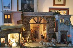 I saw this image and realy enjoyed that this was clearly set up in a home and so often this elaborate sort is only seen as a public display of some kind. Nativity House, Nativity Stable, Diy Nativity, Christmas Nativity Scene, Christmas Villages, Nativity Scenes, Miniature Rooms, Miniature Crafts, Fontanini Nativity