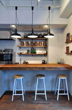 Bean to bar 専門店富ヶ谷「Minimal」 Cafe Shop, Cafe Bar, Cafe Restaurant, Bar Lounge, Kitchen Interior, Room Interior, Cafe Counter, Italian Cafe, Coffee Shop Bar