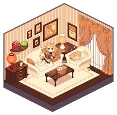 My OCs – Pomeranian Dog Girl Momoko and Pomeranian Dog Pompon Pixel Momoko's living room Isometric Drawing, Isometric Design, Kawaii Room, Kawaii Art, Pixel Animation, Anime Pixel Art, Cute Kawaii Drawings, Environment Concept Art, Image Manga