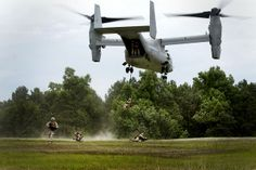 U.S. Marines with Fox Company, 2nd Battalion, 2nd Marines, conduct fast rope training from an MV-22 Osprey aboard Camp Lejeune, N.C