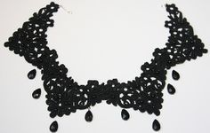 This easy-to-follow jewelry tutorial shows you how to make a necklace using crochet trim, wire, and precious beads. Make this Dark as Night Necklace!
