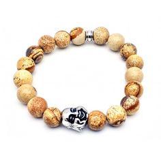 """Bracelet très masculin en perles de jaspe, pierres minérales très appréciées pour ces """"pouvoirs magiques""""..."""