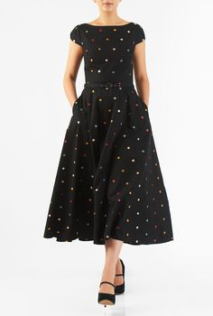 Our cotton poplin fit-and-flare dress is styled with a figure-defining seamed and belted waist and a full flare skirt embellished with polka dots all over for a ladylike finish. Indian Gowns Dresses, Modest Dresses, Trendy Dresses, Simple Dresses, Nice Dresses, Casual Dresses, Short Dresses, Fashion Dresses, Women's Fashion