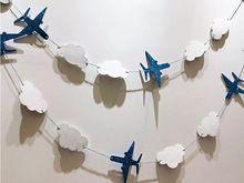 2 Sets Children fiesta de cumpleaños Buntings bandera aviones nubes encantadora Garland decoración del partido suministra Photo Booth atrezzo(China (Mainland))
