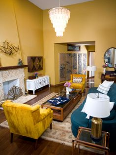Living Room in Blue and Gold