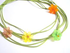 Spring Leather wrap Necklace Flowers by accessory8 on Etsy, $20.00