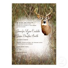 Rustic Camo Hunting Deer Antlers Wedding Invitations with a camouflage background and a deer.  Great for hunting themed weddings. http://www.zazzle.com/rustic_camo_hunting_deer_antlers_wedding_invites-161479759900908299?rf=238133515809110851 #wedding #country #camo