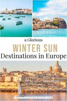 Looking to escape the cold this winter? Europe has some of the most beautiful warm-weather destinations. From the southern coasts of Portugal, Spain, Italy and France to European islands such as Malta and Cyprus, there are so many great winter sun destinations to choose from. Winter sun vacation | warm destinations in Europe | winter sun destinations in Europe | Winter in the sun | winter sun travel Winter Sun Destinations, Best Winter Vacations, Travel Destinations, Europe Weekend Trips, Europe Travel Guide, Winter Travel, Best Cities, Cool Places To Visit, Travel Inspiration