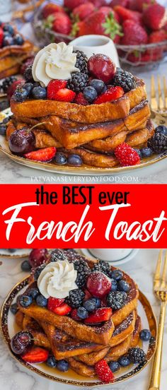 The BEST French Toast (video) - Tatyanas Everyday Food Simple Food Recipes, Food Recipes Keto Fluffy French Toast, Savoury French Toast, Creme Brulee French Toast, French Toast Rolls, Banana French Toast, Make French Toast, Cinnamon French Toast, Best French Toast Recipe Ever, French Toast Without Milk
