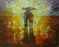 """La vuelta al cole, cuadro de Jesús Sanz, pintor del estudio de pintura """"La magia de Rudi""""."""