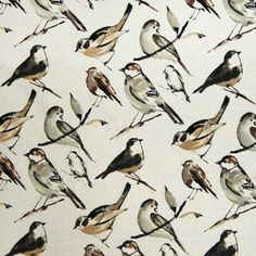 Love...Love...Love this Bird Print Fabric! So Pretty!  I would love to have some pillows made with this fabric! Neutral Colors Accented with Black! #birds #bird_print #fabric #love
