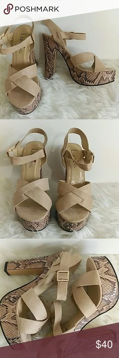 """Luichiny Nude Python IS A BELL Platform Sandals 7 Luichiny Nude and Python Platform Sandals  New in box, Size 7, Suede look Straps, Retail $75 Approximate heel height 5-1/2"""", Platform 1-1/2"""" May have been store displays and tried on Look to have possible glue on insole, see pic Colors may appear different in person Reasonable offers considered, No trades Luichiny Shoes Sandals"""