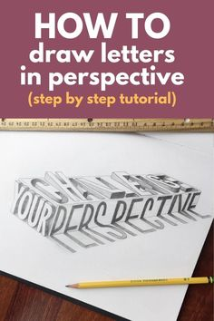 🌟Tante S!fr@ loves this📌🌟Learn how to draw letters in a two point perspective. This is a step by step hand lettering tutorial no matter your skill level. Add a totally new dimension to your hand lettering artwork. Doodle Lettering, Brush Lettering, Different Lettering, Drawing Letters, How To Draw Letters, Hand Lettering Tutorial, Beautiful Lettering, Point Perspective, Perspective Drawing