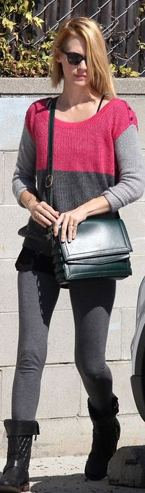 Who made January Jones' green handbag and pink and gray sweater that she wore in Los Angeles on October 12, 2012? Sweater – Splendid  Purse – Christian Louboutin