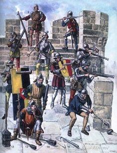 Vari archibugieri e fanti della guerra dei Cent'anni, XV secolo Medieval Knight, Medieval Armor, Medieval Fantasy, High Middle Ages, Classical Antiquity, Knight Armor, Dark Ages, Military History, Warfare