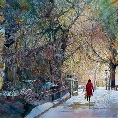 """John Salminen is an award-winning American watercolor painter who is well known for his realistic urban landscapes. His work was described as """"compelling street scenes packed with detail"""" by. Watercolor Artists, Watercolor Landscape, Watercolor Paintings, Watercolours, Urban Landscape, Landscape Art, Art Aquarelle, Art Society, American Artists"""