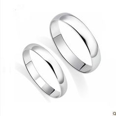 Genuine solid 18k white gold his and hers wedding band ,2.4mm white gold wedding ring set,gold ring,Free shipping