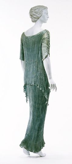 1920s green silk Fortuny gown with tunic styling.