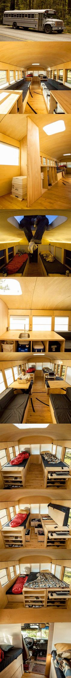 Architecture student Hank Butitta converted old school bus into a 225 square foot mobile home with small kitchen, living room, and bedroom.