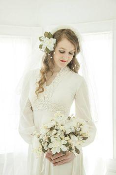 Vintage boho wedding dress long bishop sleeves empire waist